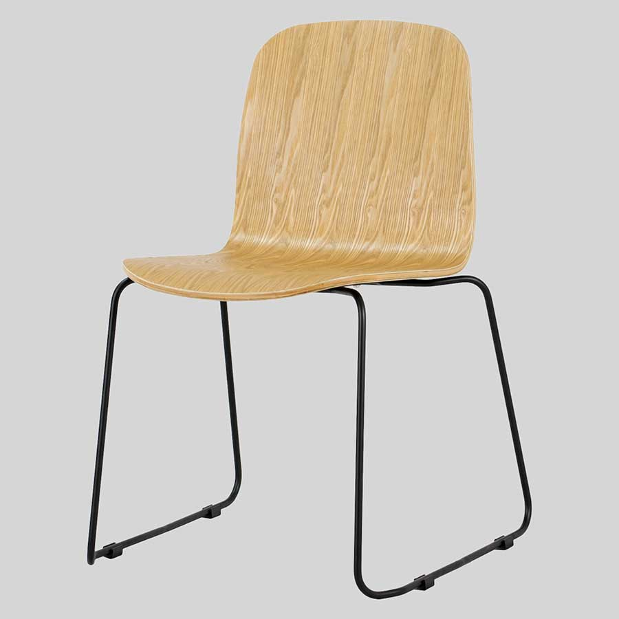 Felix Chair - Natural Frame, Black Sled