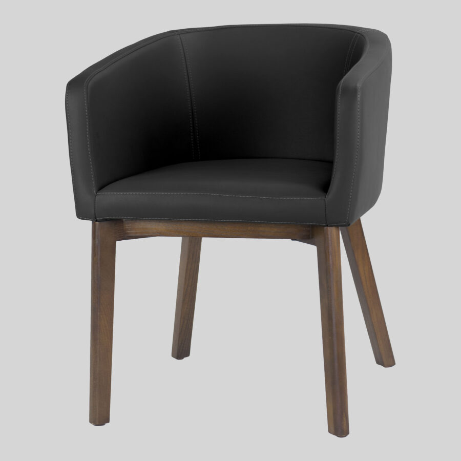 Madison Tub Chair - Black Vinyl, Walnut Legs