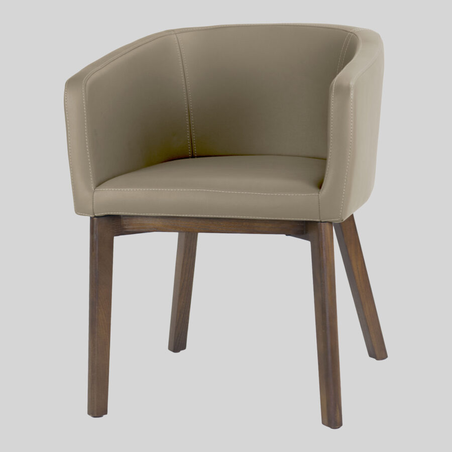Madison Tub Chair - Taupe Vinyl, Walnut Legs