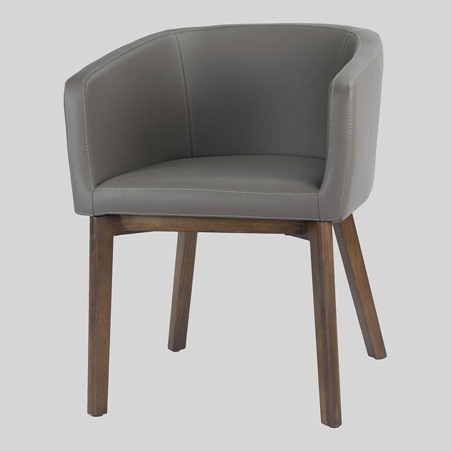 Madison Tub Chair - Charcoal Vinyl, Walnut Legs