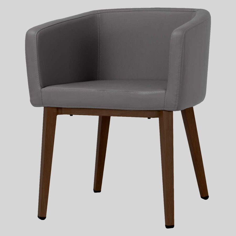 Madison Chair - Charcoal Vinyl, Walnut Legs