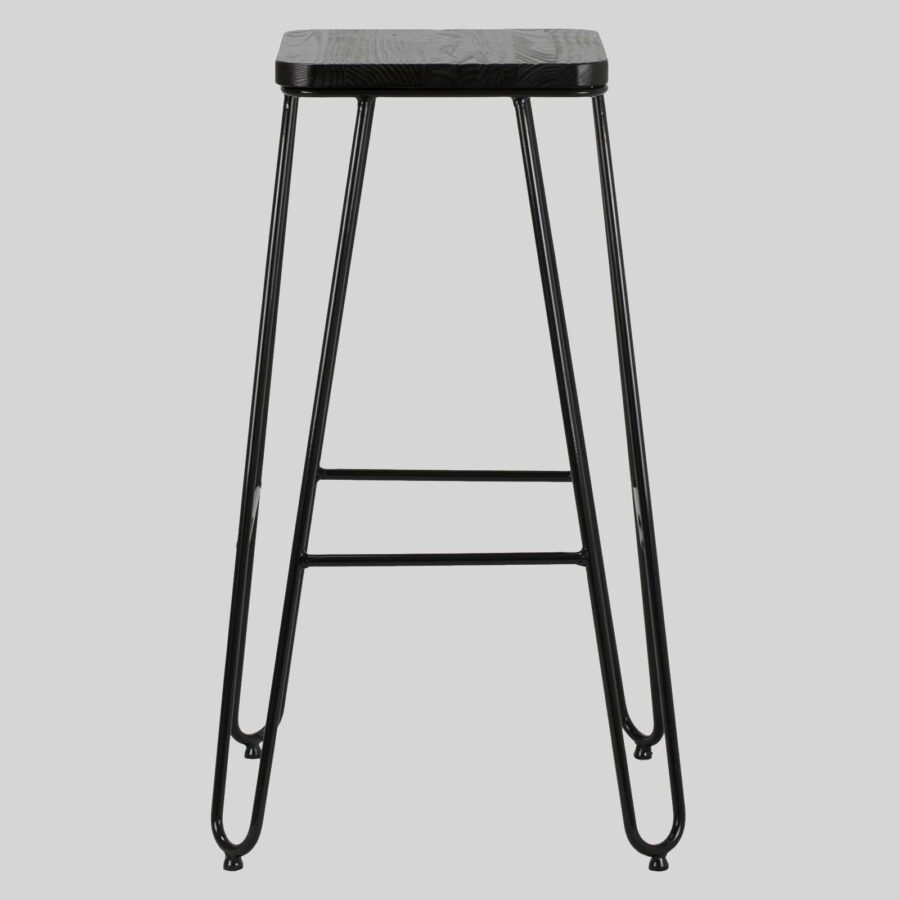 Manhattan Bar Stool - Black Top, Black Frame