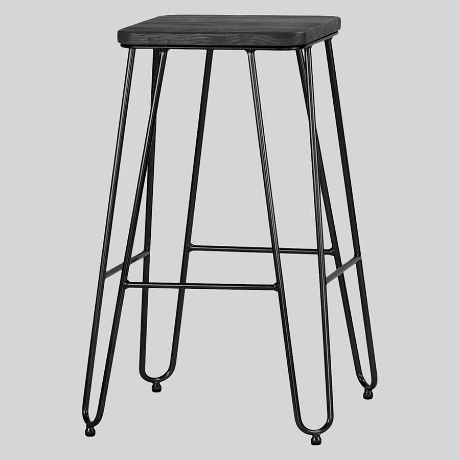 Manhattan Counter Stool - Black with Black Seat