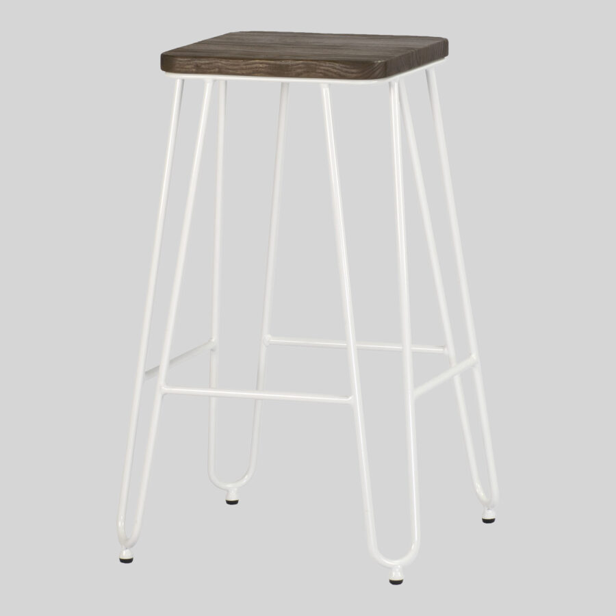 Manhattan Counter Stool - White with Elm Seat