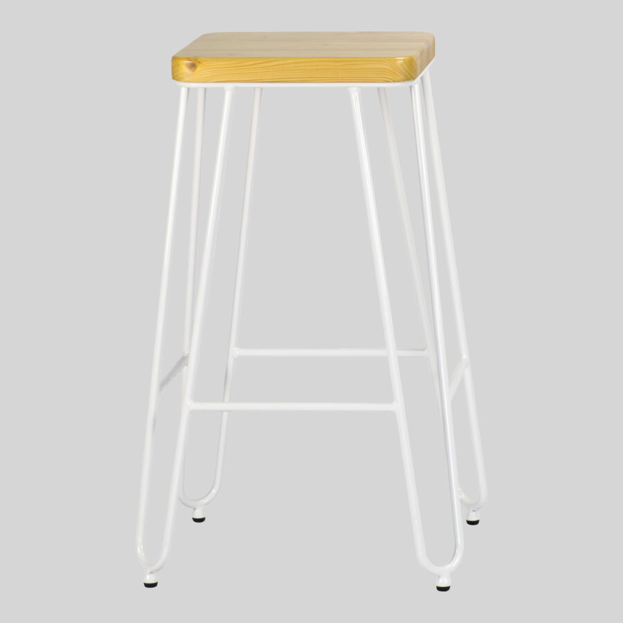 Manhattan Counter Stool - White with Natural Seat