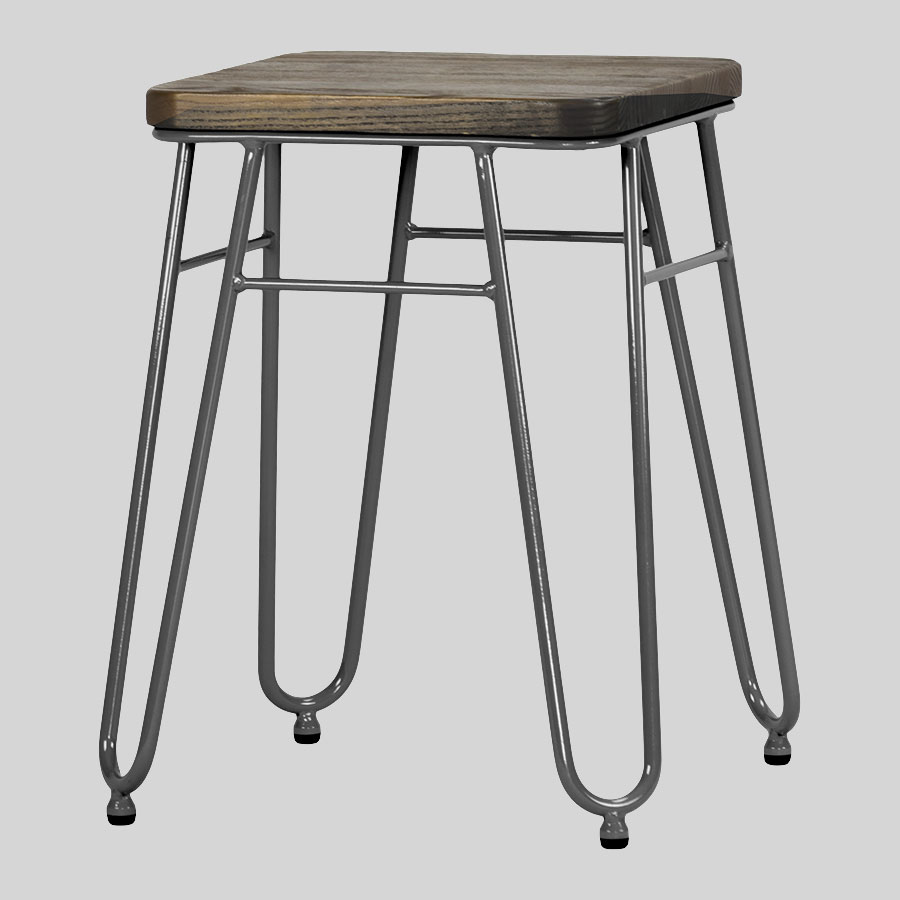 Manhattan Low Stool - Charcoal Elm