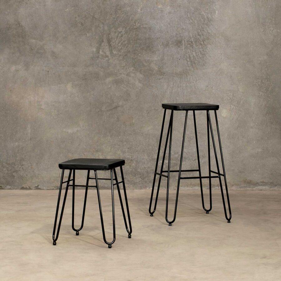 Manhattan Hairpin Bar Stool - Black Top, Black Frame