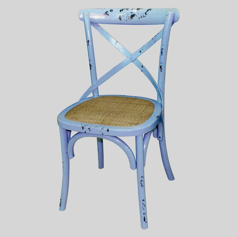 Monique Cross Back Chair - Blue