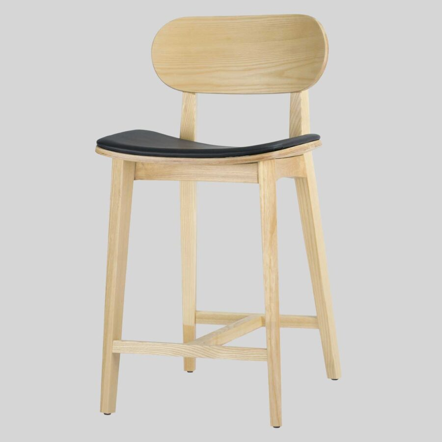 Asahi Counter Stool - Natural, Black Pad