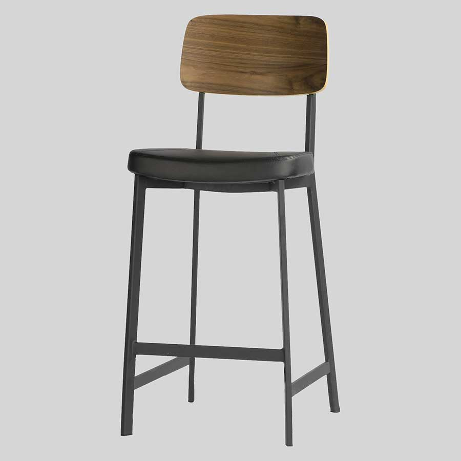 Caprice Counter Stool - Black Frame, Walnut Backrest