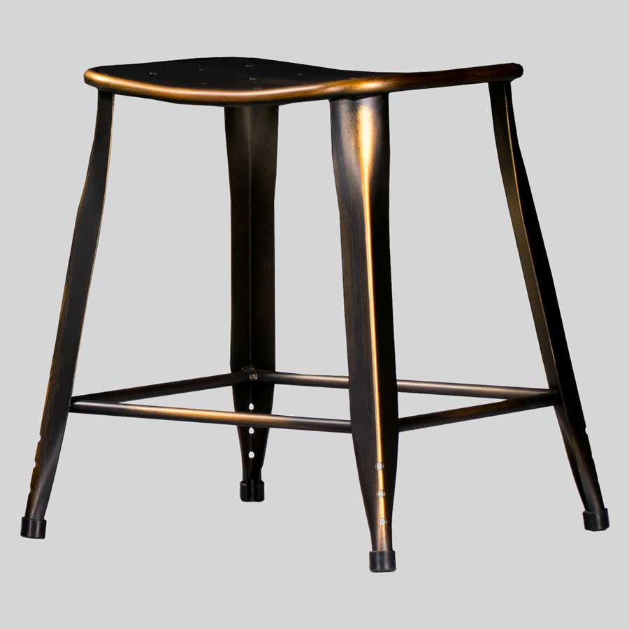 Coleman Low Stool - Distressed Copper