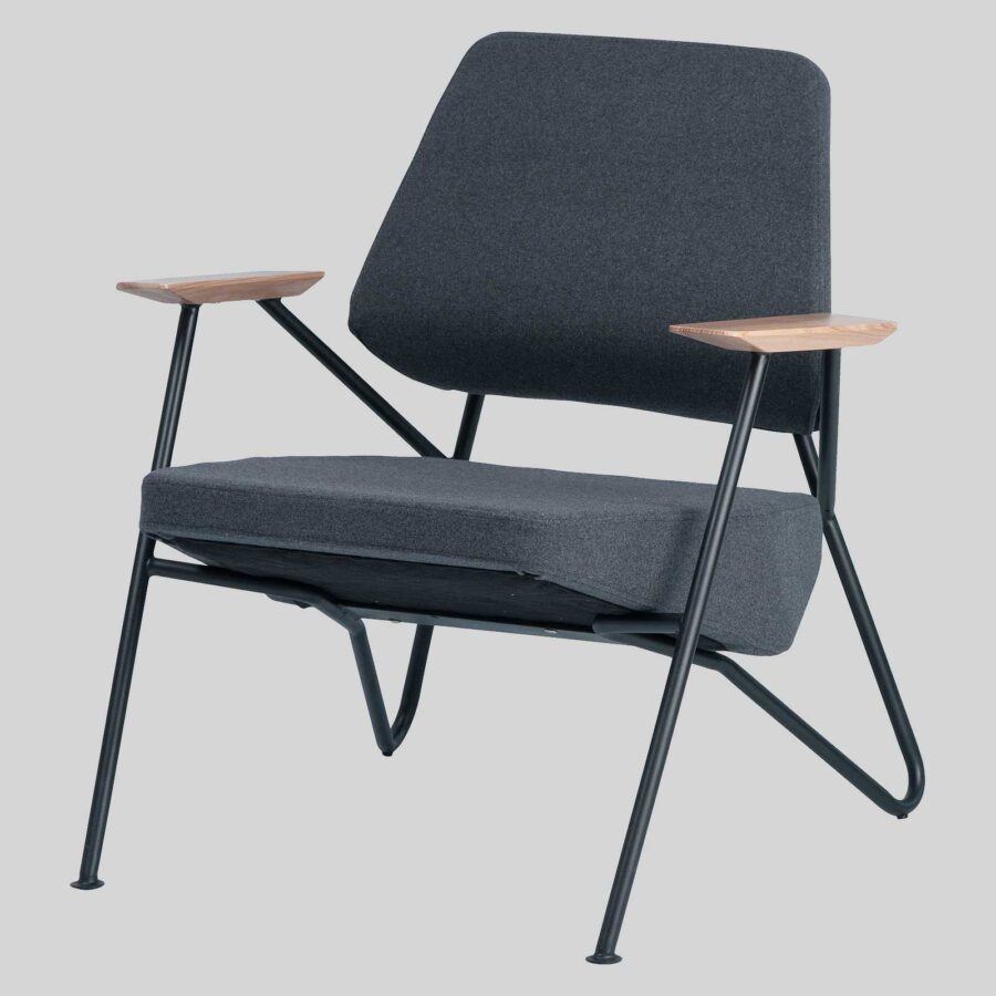 Holly Lounge Chair - Charcoal Fabric/Black Frame