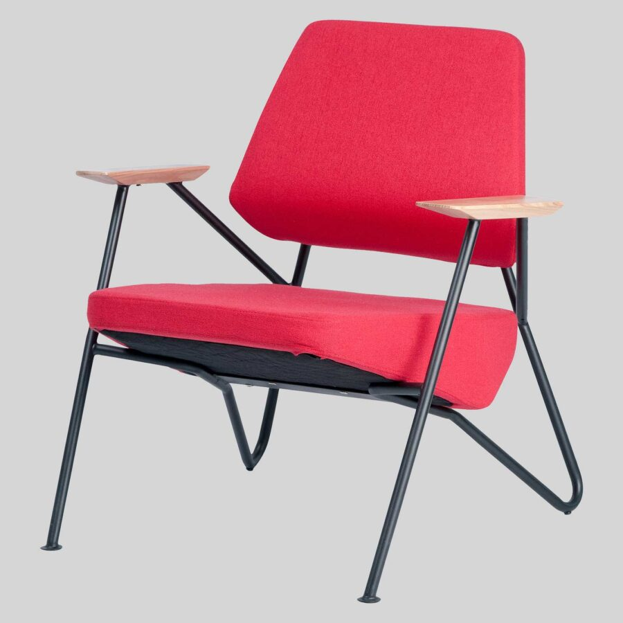 Holly Lounge Chair - Red Fabric/Black Frame