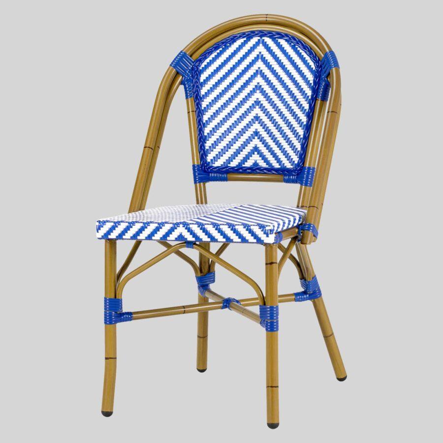 Jasmine French Dining Chairs - Blue/White Chevron