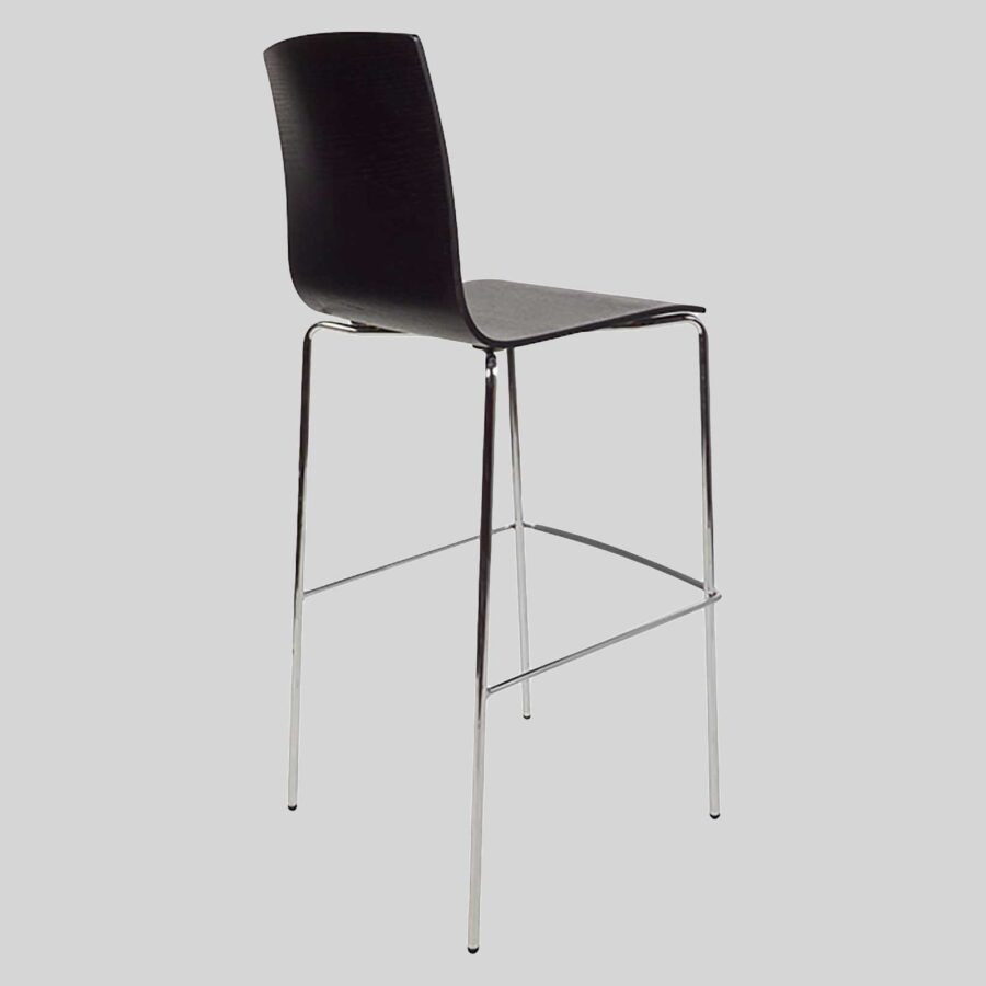 Palais Hospitality Barstool - Back - Chrome/Black