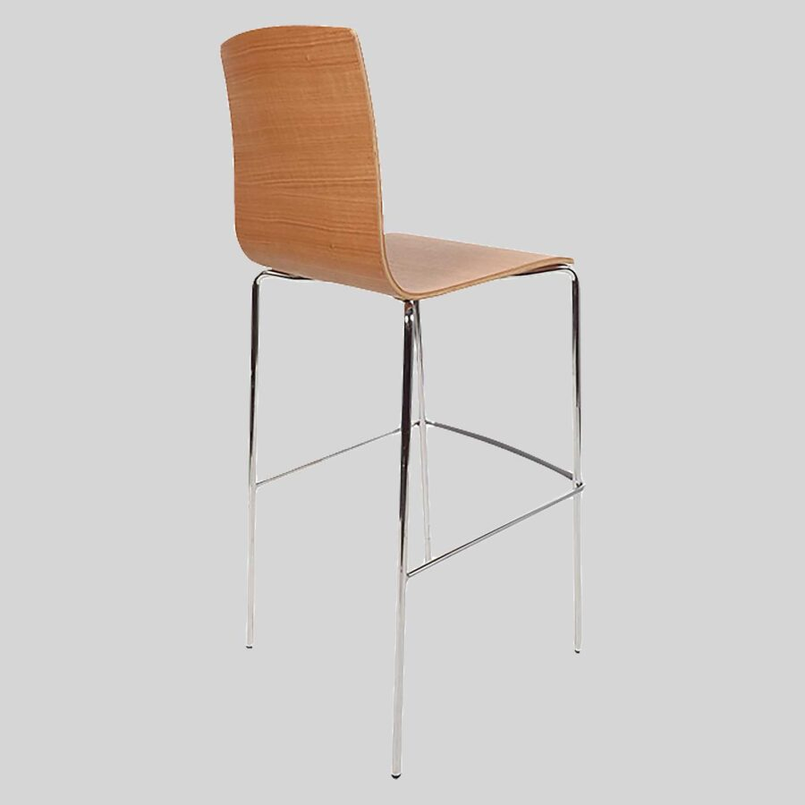 Palais Hospitality Barstool - Back - Chrome/Natural