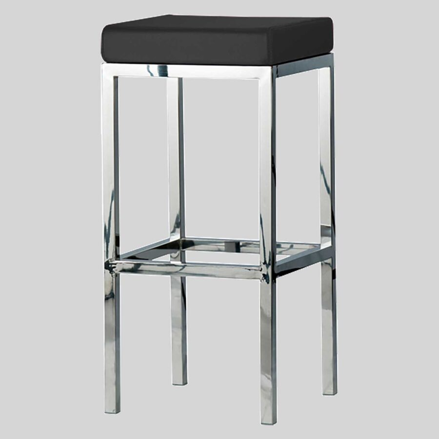 Quentin bar seats - Polished Frame, Black Seat