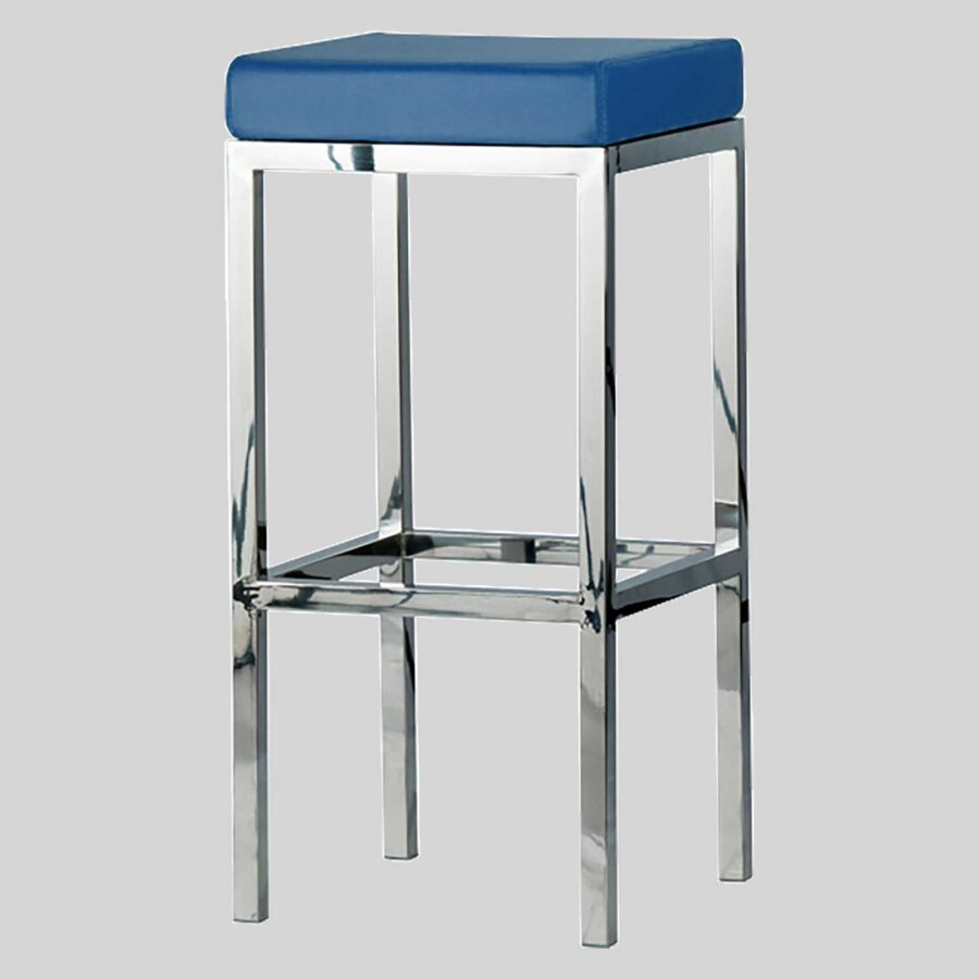 Quentin bar seats - Polished Frame, Blue Seat