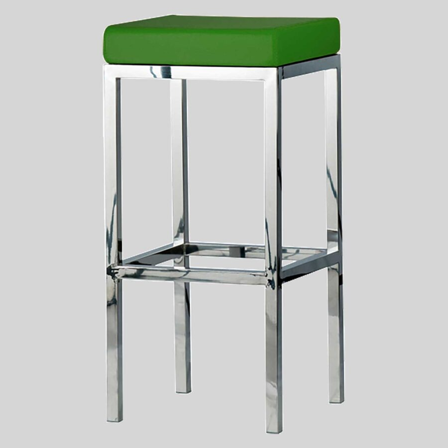 Quentin bar seats - Polished Frame, Green Seat