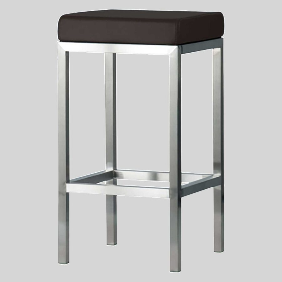 Quentin Counter Stool - Brushed Frame, Brown Seat