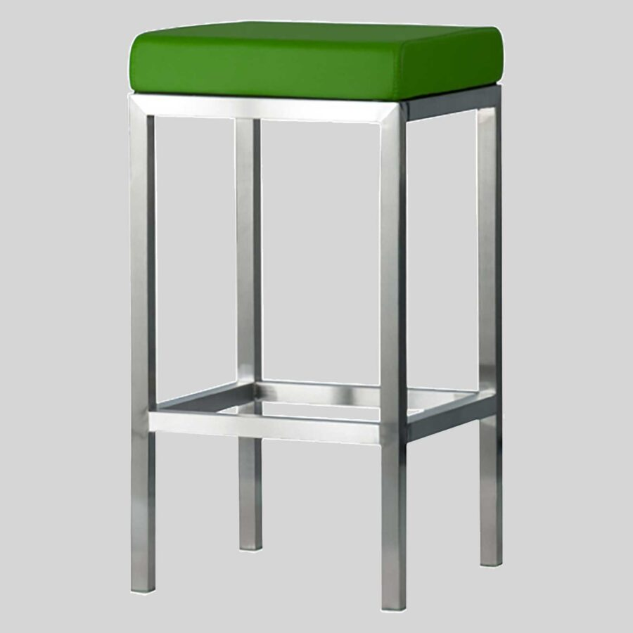 Quentin Counter Stool - Brushed Frame, Green Seat