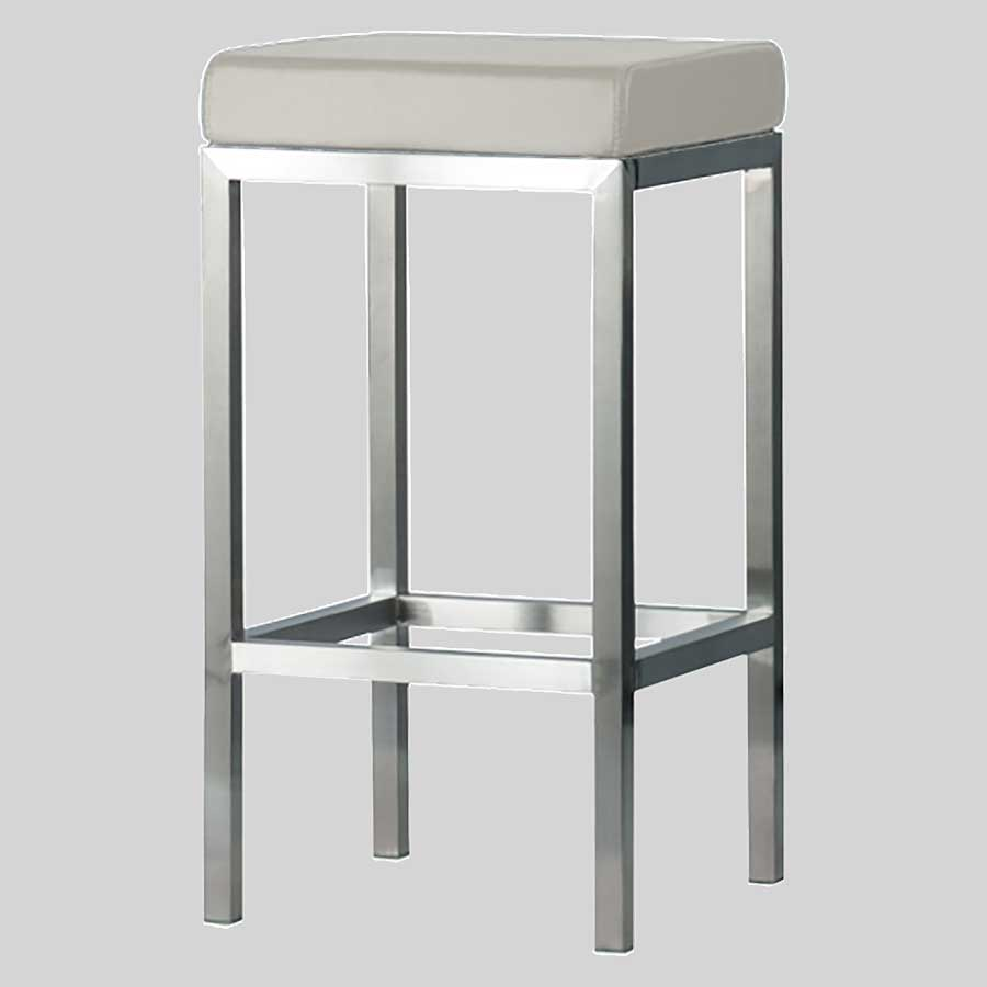 Quentin Counter Stool - Brushed Frame, Off-White Seat