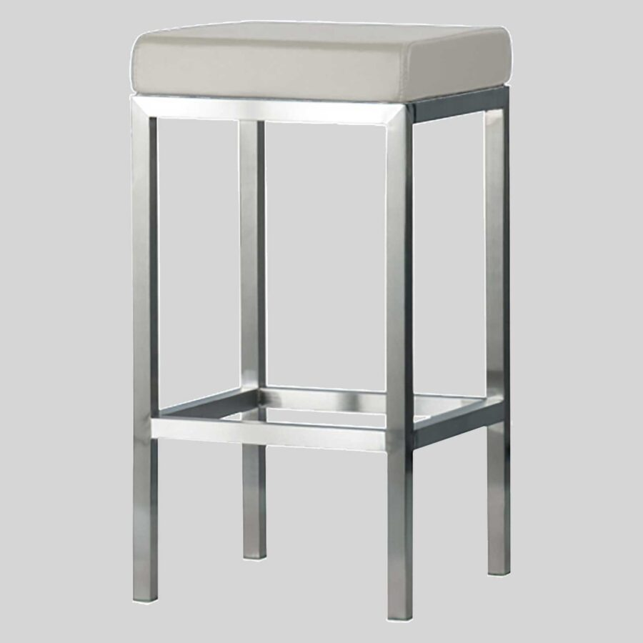 QuentinCounter Stool - Brushed Frame, Off-White Seat