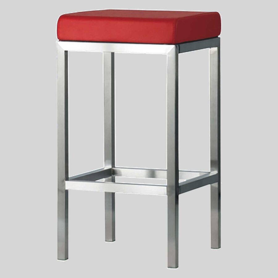 Quentin Counter Stool - Brushed Frame, Red Seat