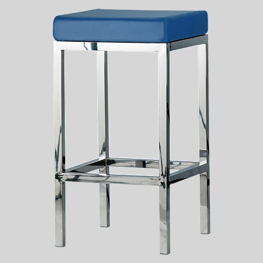 QuentinCounter Stool - Polished Frame, Blue Seat