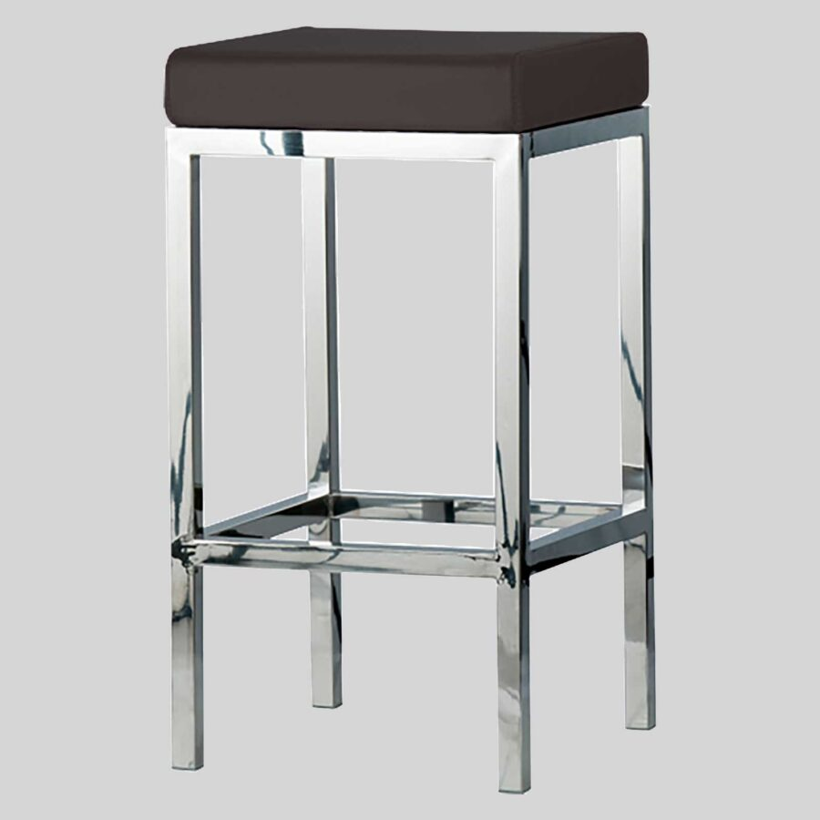 QuentinCounter Stool - Polished Frame, Brown Seat