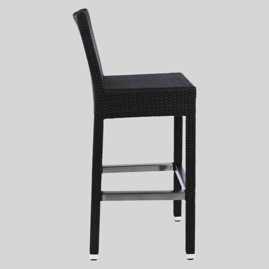 Resortica Wicker Barstool with Back - Side