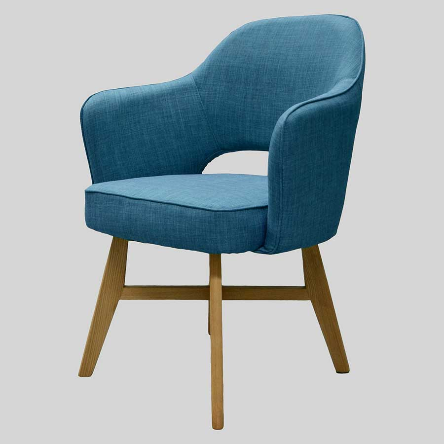 Royale Chair - Blue, Natural Legs