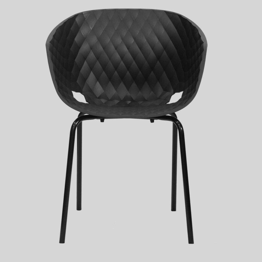 Uniq 4 Leg Italian Designer Armchair - Front - Black