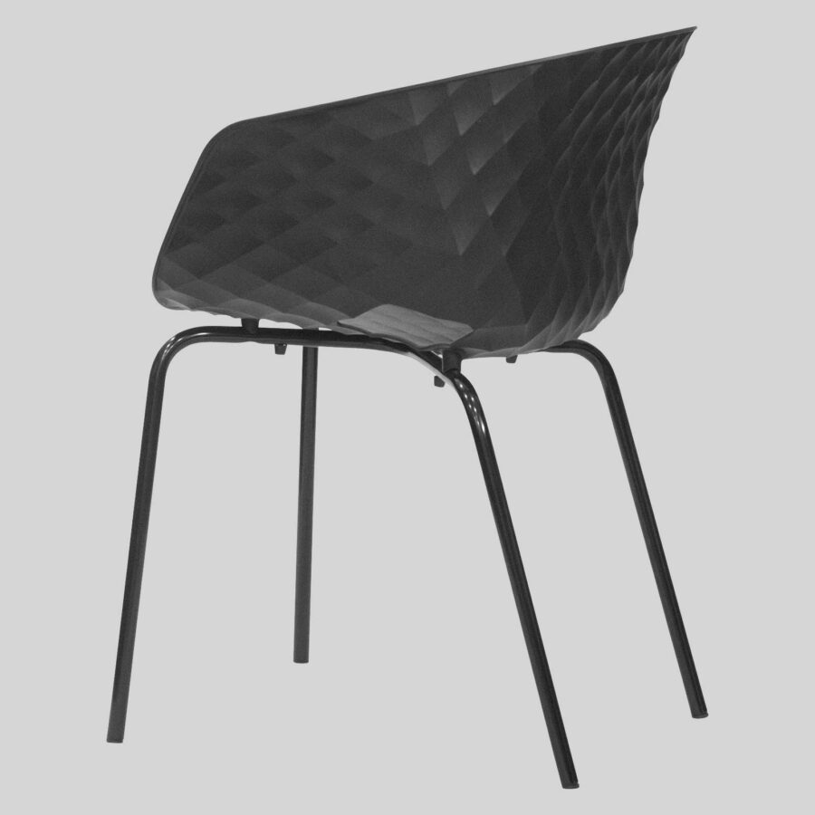 Uniq 4 Leg Italian Designer Armchair - Side - Black