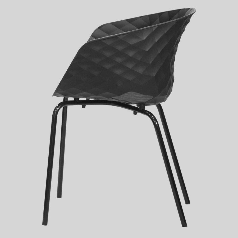 Uniq 4 Leg Italian Designer Armchair - Side2 - Black