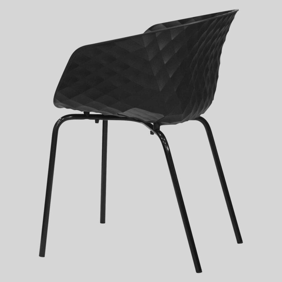Uniq 4 Leg Italian Designer Armchair - Side3 - Black