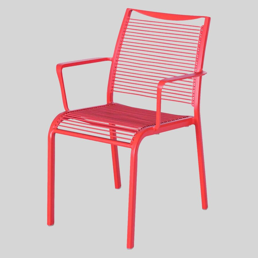 Waverly Outdoor Cafe Chairs with Arms - Red