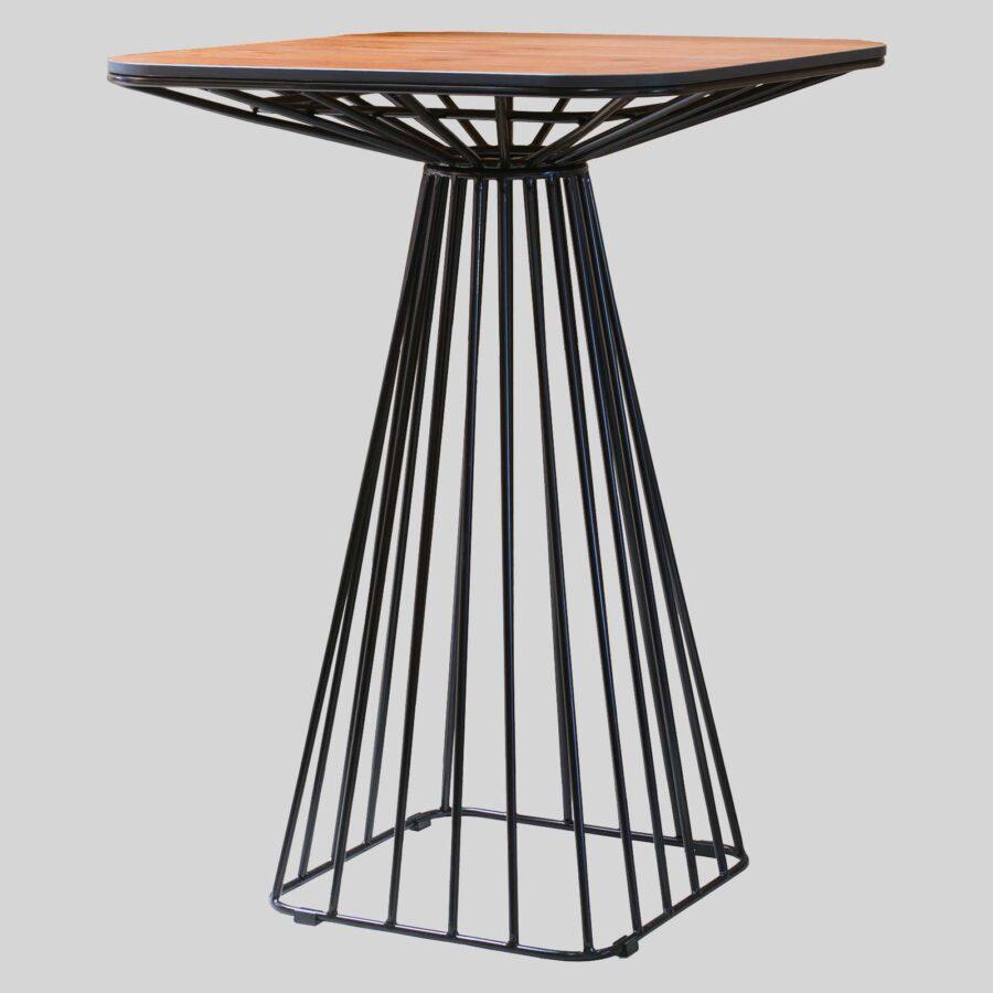 Gauge Wire Bar Table - Alfreso Sawn Lumber/Black