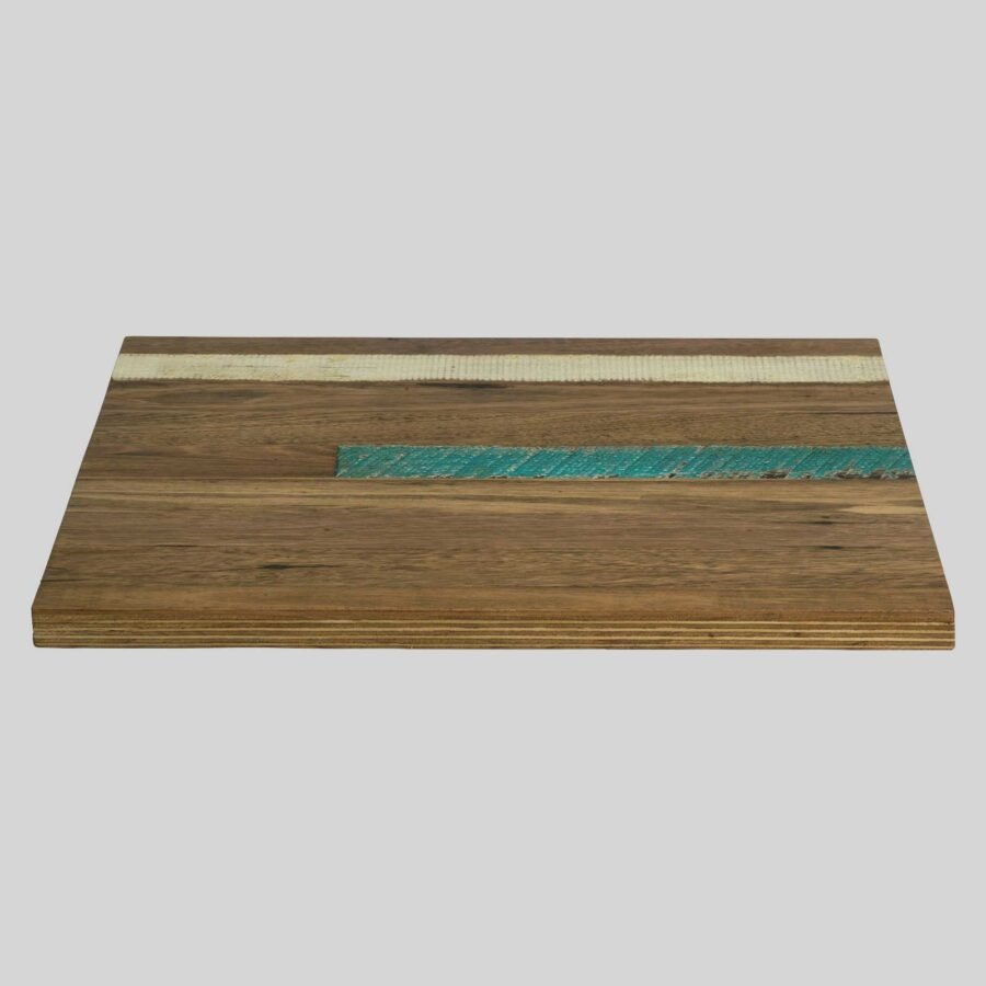 Recycled Timber Table Tops - Black Japan with White and Blue