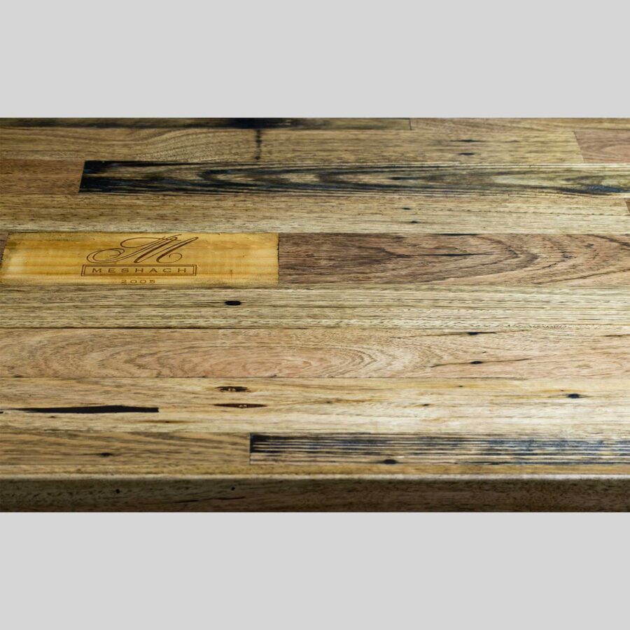 Recycled Timber Table Tops - Recycled Timber Table Tops - Black Japan with Logo Inlay