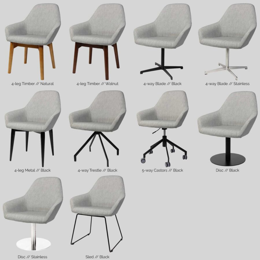 Monte Tub Chair Base Options