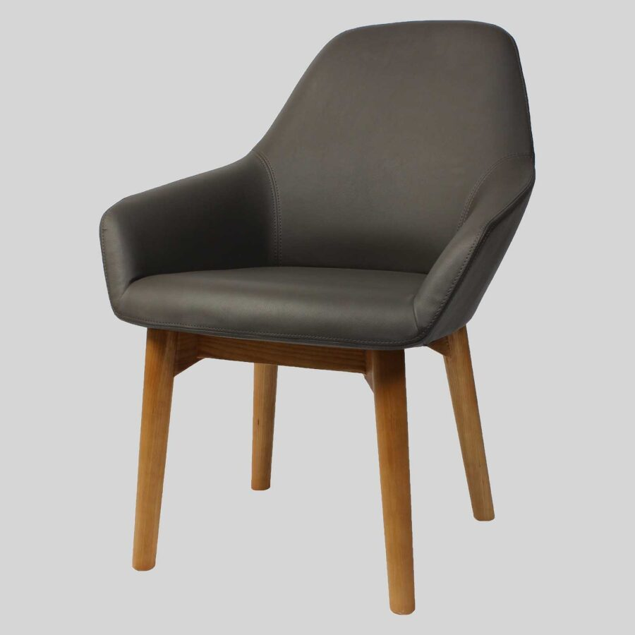 Monte Tub Chair - Charcoal Vinyl, 4-leg Timber // Natural