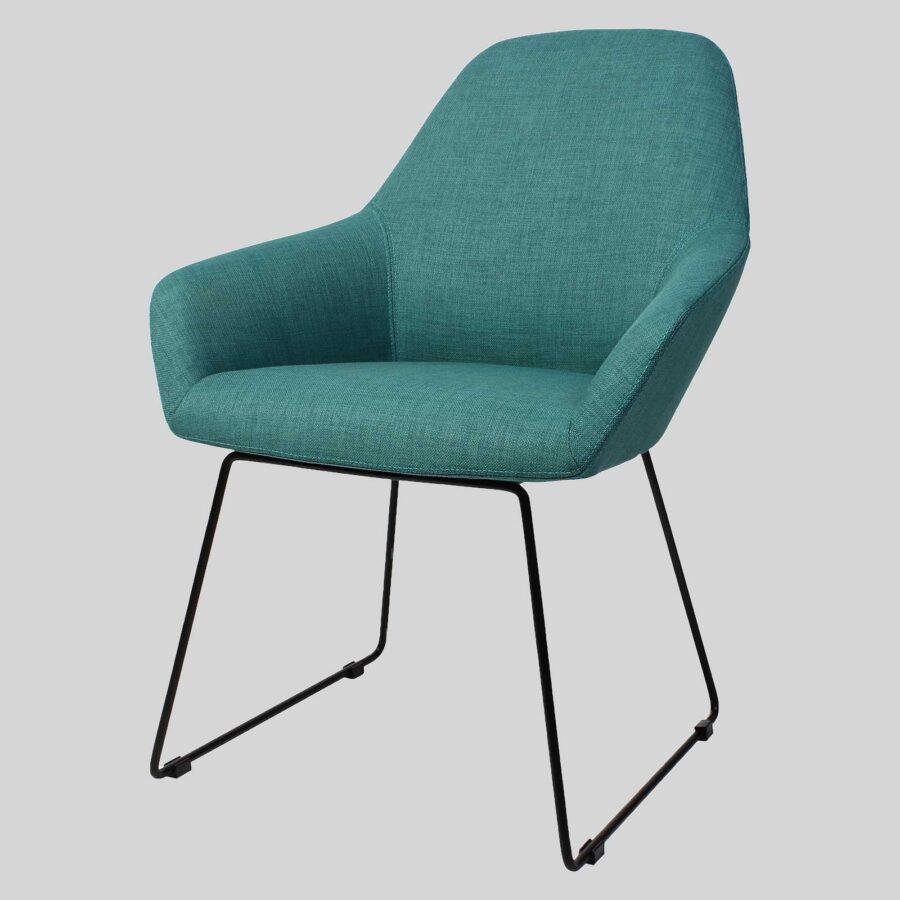 Monte Tub Chair - Teal Fabric, Sled // Black