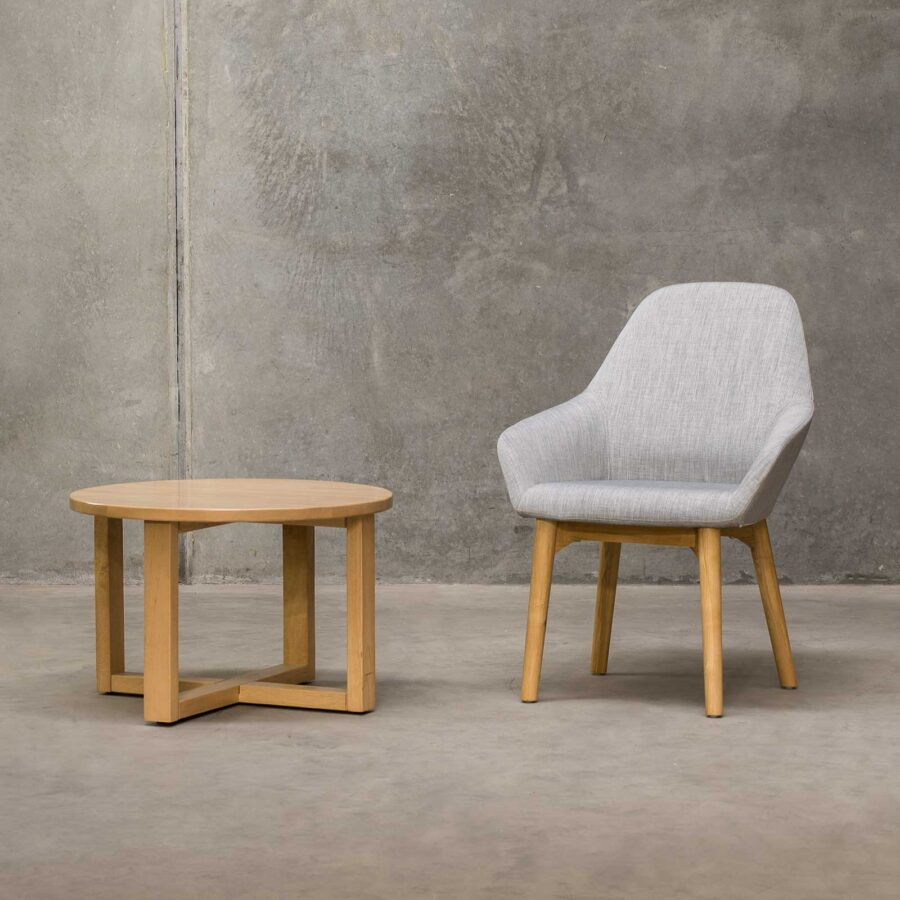 Monte Tub Chair - Grey, 4-leg Timber // Natural