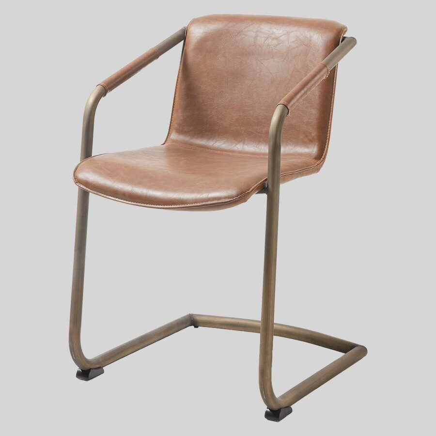 Crion Leather Look Dining Armchair - Rust