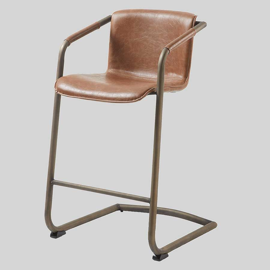 Crion Leather Look Counter Stool-Rust