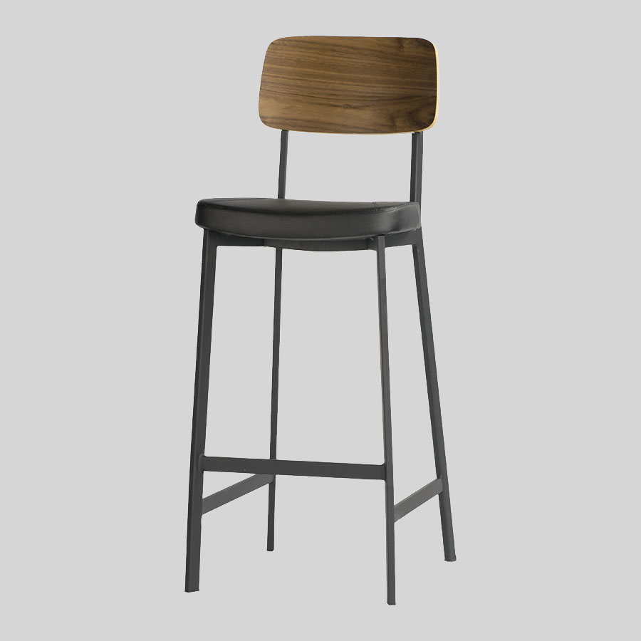 Caprice Barstool - Black, Walnut