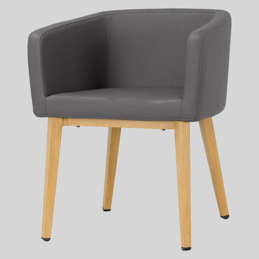 Madison Chair - Charcoal Vinyl, Natural Legs