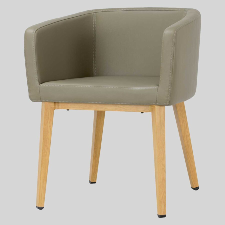 Madison Chair - Taupe Vinyl, Natural Legs