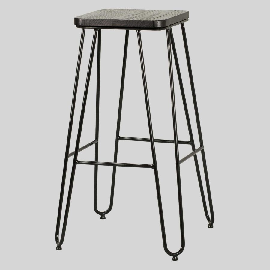 Manhattan Bar Stool - Black Top, Black Frame